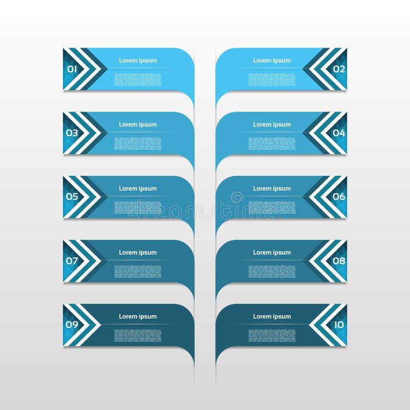 Symboler för för den Infographic designmallen och marknadsföringen, affärsidé med 10 alternativ, särar, kliver eller processar Ka stock illustrationer