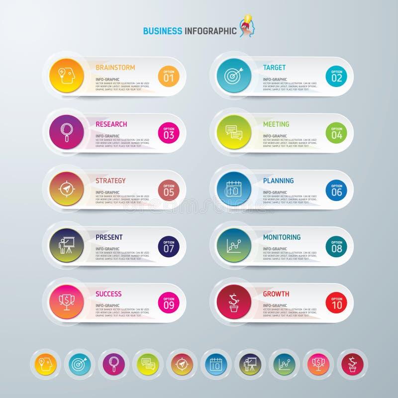 Symboler för för Infographic designmall och marknadsföring, affärsidé med 10 alternativ royaltyfri bild