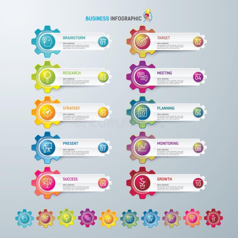 Symboler för för Infographic designmall och marknadsföring, affärsidé med 10 alternativ royaltyfria foton