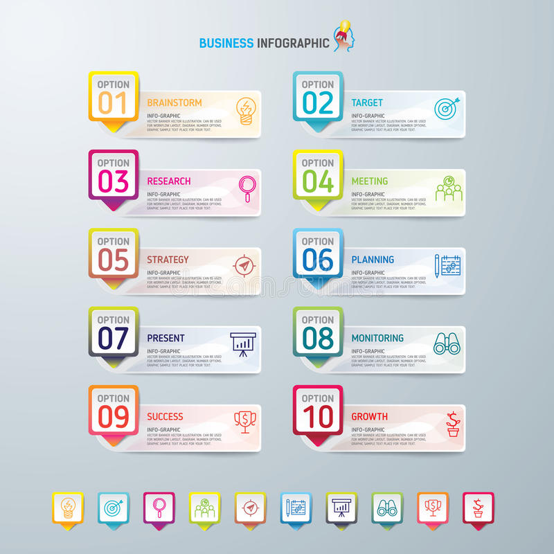 Symboler för för Infographic designmall och marknadsföring, affärsidé med 10 alternativ royaltyfria bilder