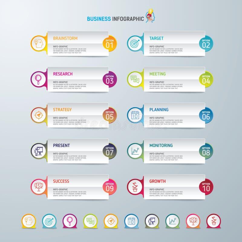 Symboler för för Infographic designmall och marknadsföring, affärsidé med 10 alternativ arkivbild
