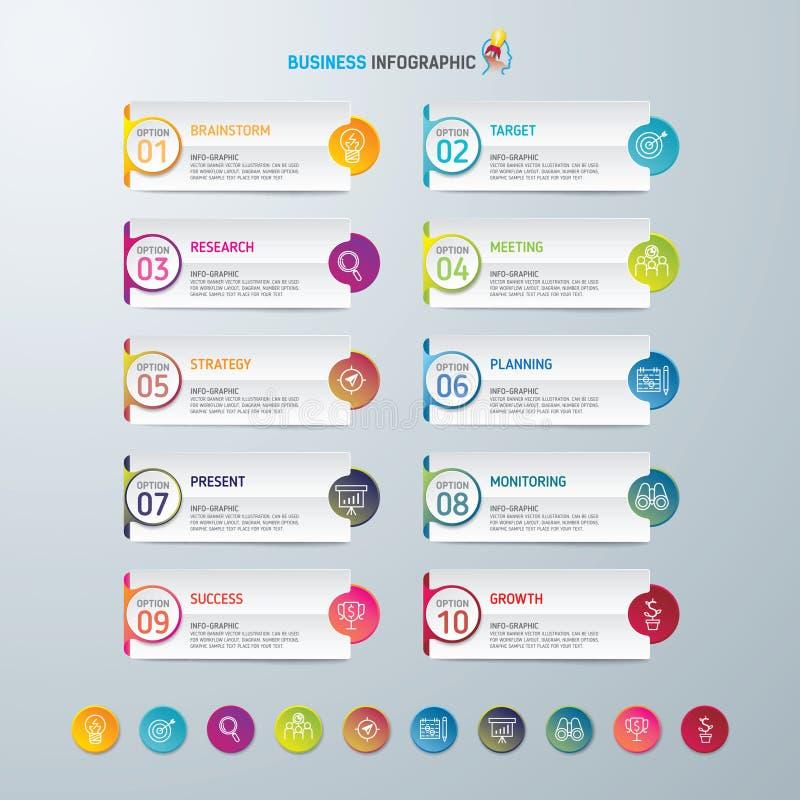 Symboler för för Infographic designmall och marknadsföring, affärsidé med 10 alternativ arkivbilder