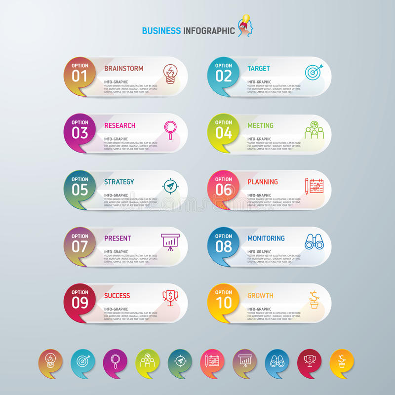 Symboler för för Infographic designmall och marknadsföring, affärsidé med 10 alternativ arkivfoton