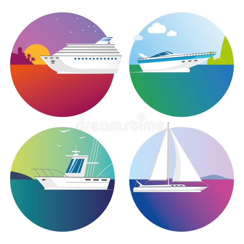 Symboler för för vektorfärgfartyg och skepp på lopp och fiske för vit bakgrund tropiskt royaltyfri illustrationer