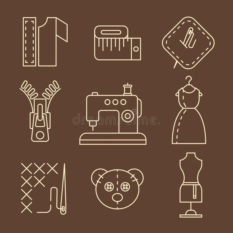 Symboler för för vektorsömnadutrustning och handarbete royaltyfri illustrationer