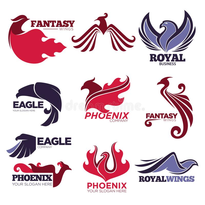 Symboler för företag för mall för vektor för örn för fantasi för Phoenix brandfågel ställde in royaltyfri illustrationer