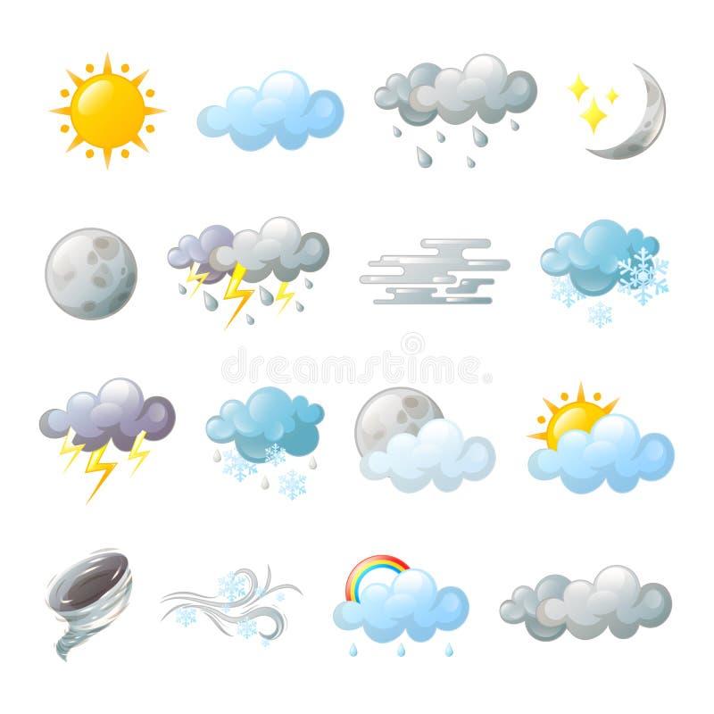 Symboler för förutsett eller mulet moln för väder stock illustrationer
