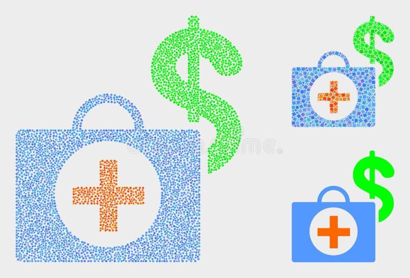 Symboler för fall för Pixelated vektor finansiella medicinska vektor illustrationer