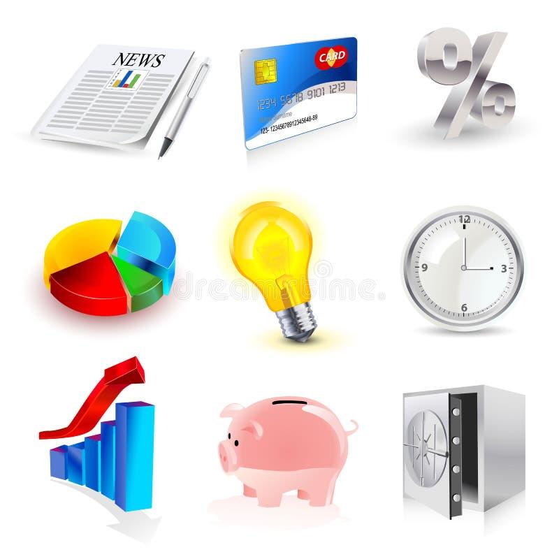 symboler för finans 3d ställde in vektorn stock illustrationer