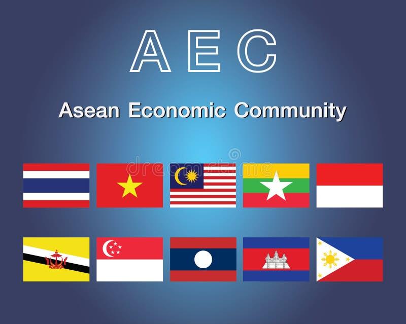 Symboler för flagga för ekonomisk gemenskap för AEC-ASEAN också vektor för coreldrawillustration Flaggasymbol för AEC South East  royaltyfri illustrationer