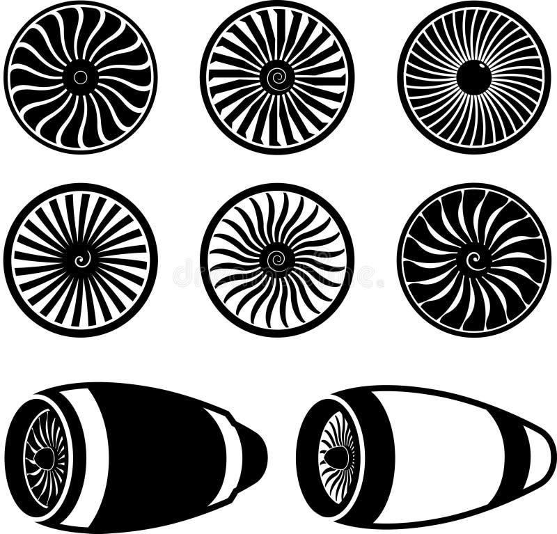 Symboler för flygplanjetmotorturbiner stock illustrationer