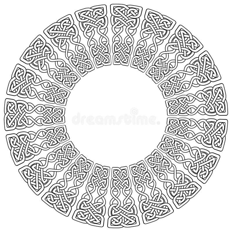 Symboler för fnuren för keltisk stil för Mandalastil ändlösa i vit med den svarta slaglängden som inspireras vid dag för irländar royaltyfri illustrationer