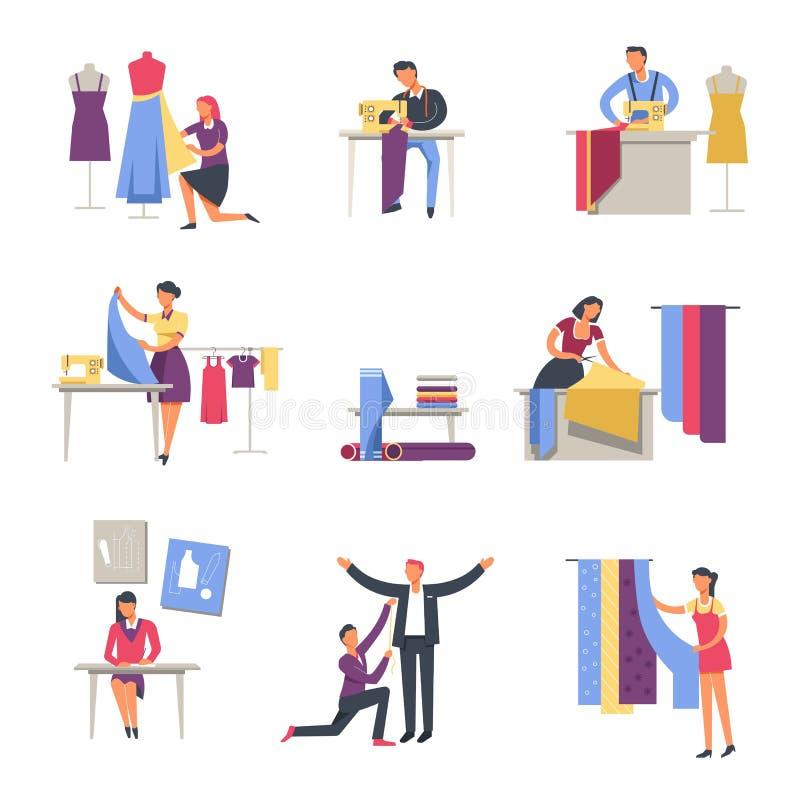 Symboler för folk för skräddare- eller sömmerska- och för modeformgivare yrkevektor ansiktslösa stock illustrationer
