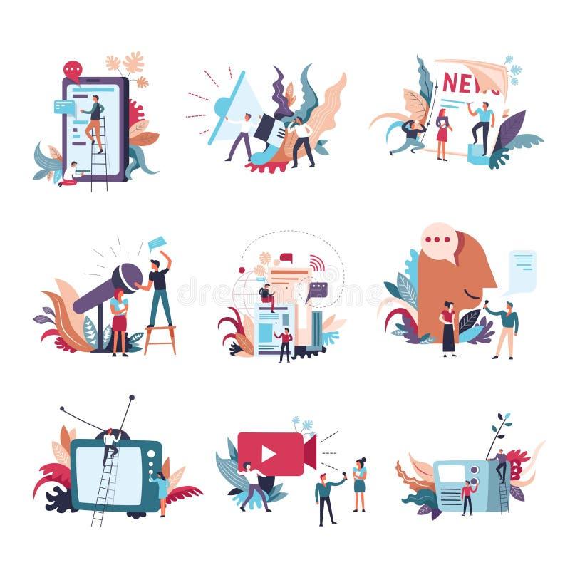 Symboler för folk för vektor för journalistikmassmedianyheterna stock illustrationer