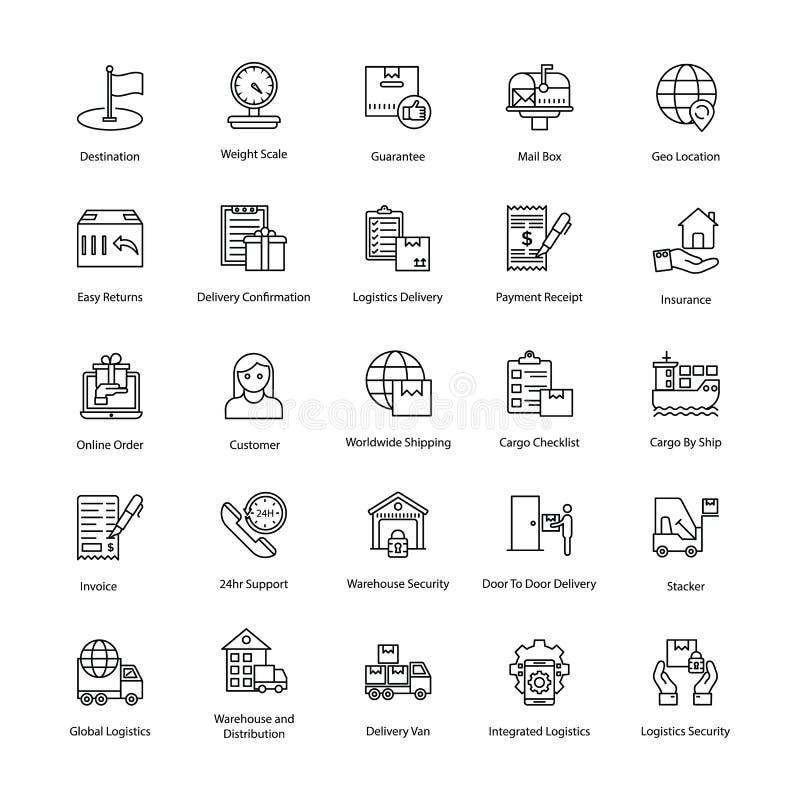 Symboler för framkantlogistikleverans vektor illustrationer