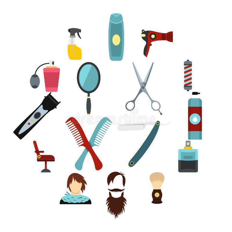 Symboler för friseringuppsättninglägenhet royaltyfri illustrationer