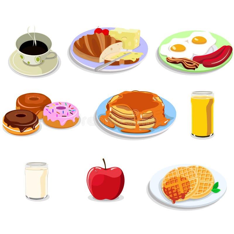 Symboler för frukostmat royaltyfri illustrationer