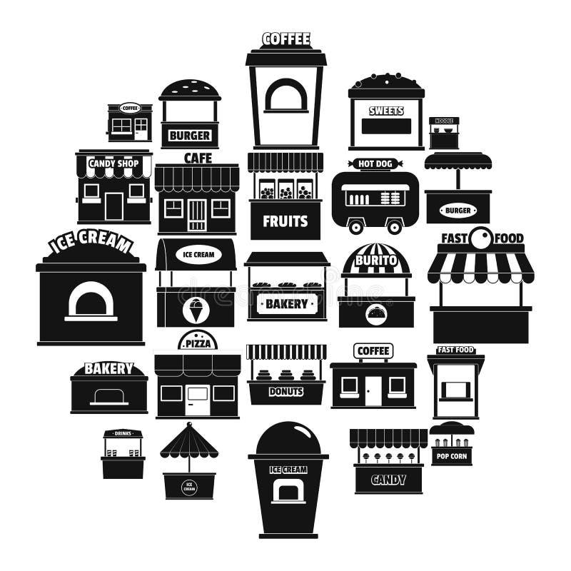 Symboler för gatamatkiosk ställde in, enkel stil stock illustrationer