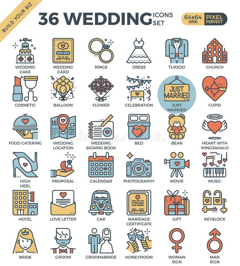 Symboler för gifta sig & förälskelseöversiktsfärg royaltyfri illustrationer