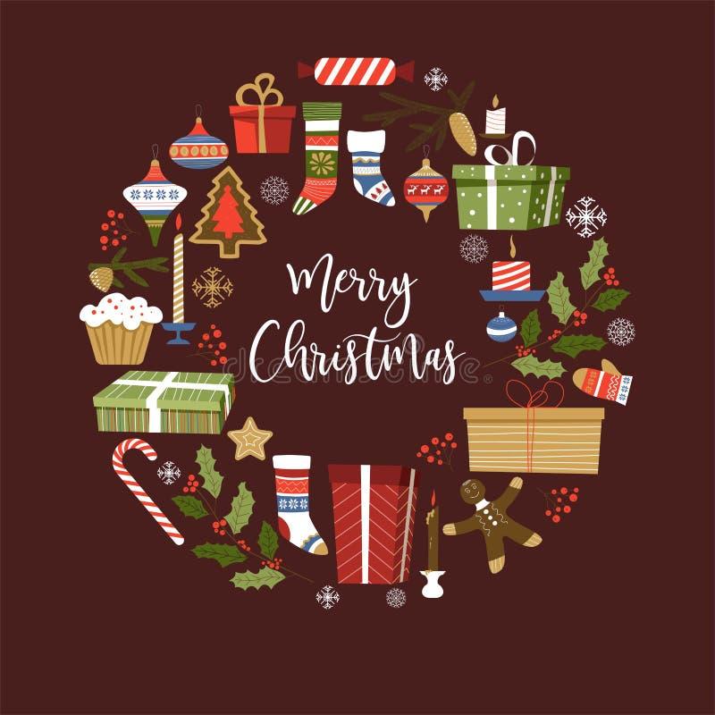 Symboler för glad jul av det nya året, fastställd vektor för tecken stock illustrationer