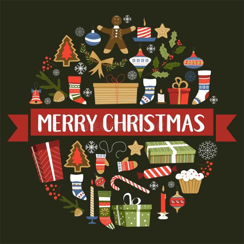 Symboler för glad jul av det nya året, fastställd vektor för tecken royaltyfri illustrationer