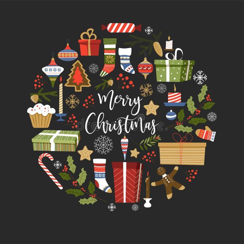 Symboler för glad jul av det nya året, fastställd vektor för tecken vektor illustrationer