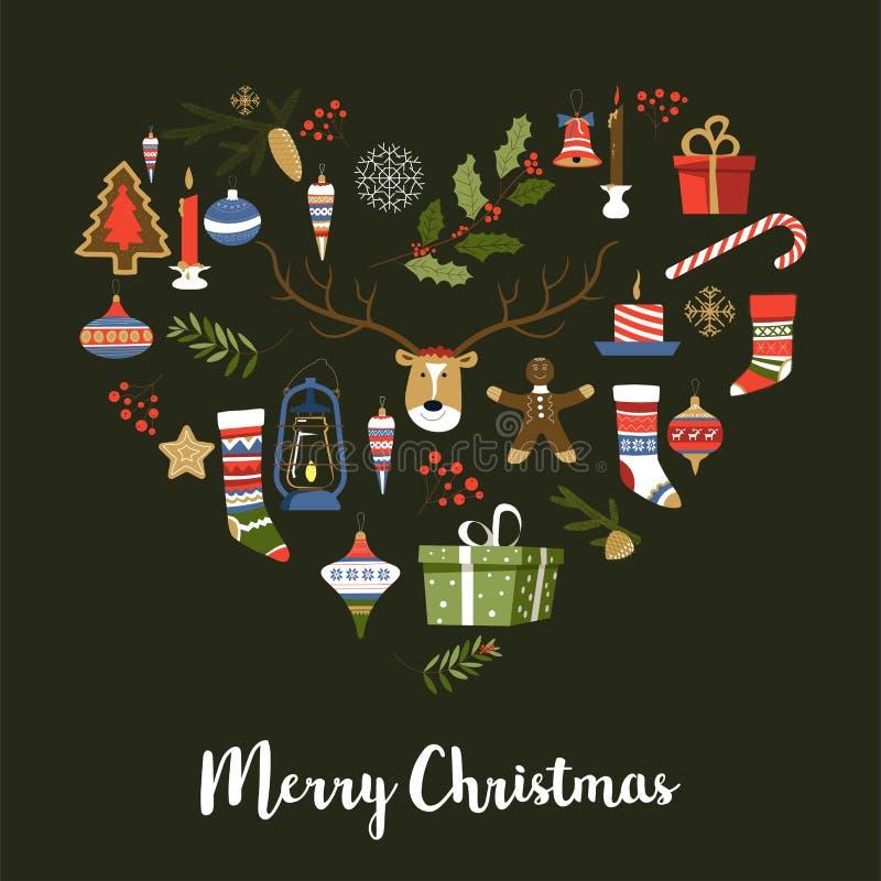 Symboler för glad jul av det nya året, fastställd vektor för tecken Gåvor och gåvor i askar stock illustrationer