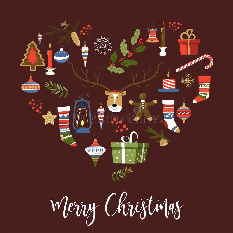 Symboler för glad jul av det nya året, fastställd vektor för tecken Gåvor och gåvor i askar royaltyfri illustrationer