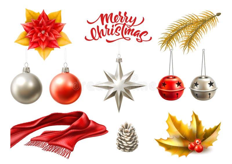Symboler in för glad jul för vektorn ställde realistiska, leksaker royaltyfri illustrationer