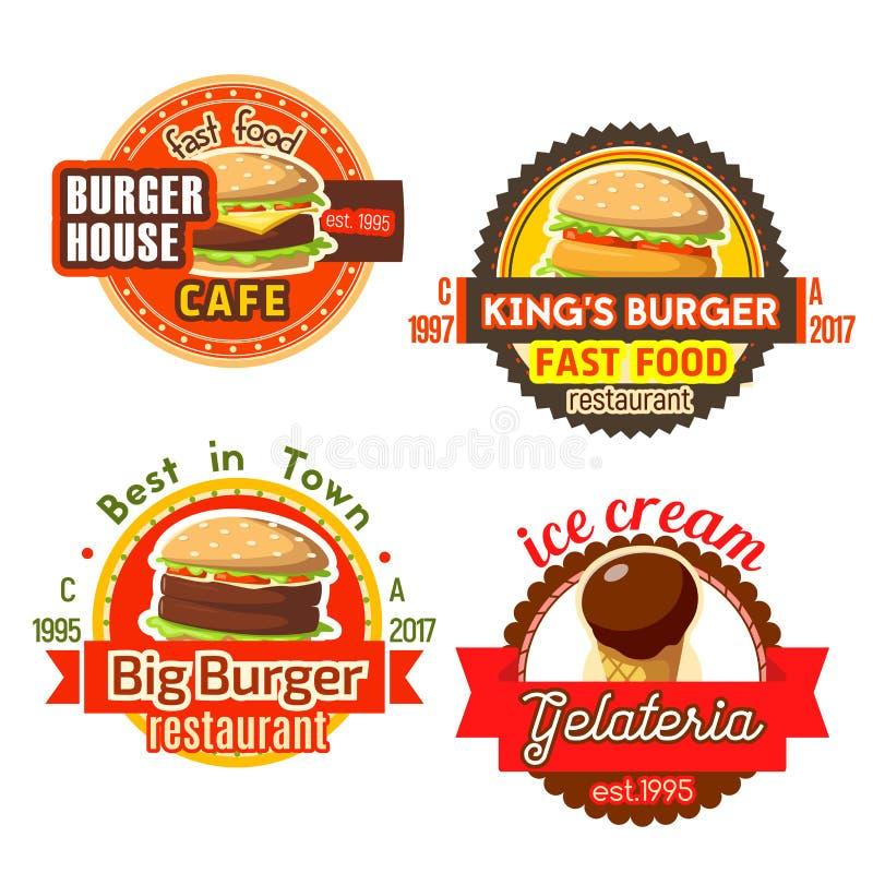 Symboler för glass för vektorsnabbmathamburgare stock illustrationer