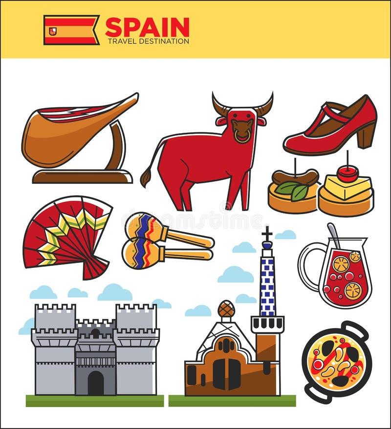 Symboler för gränsmärke för Spanien lopp berömda och spanska turist- symboler för kulturdragningsvektor royaltyfri illustrationer