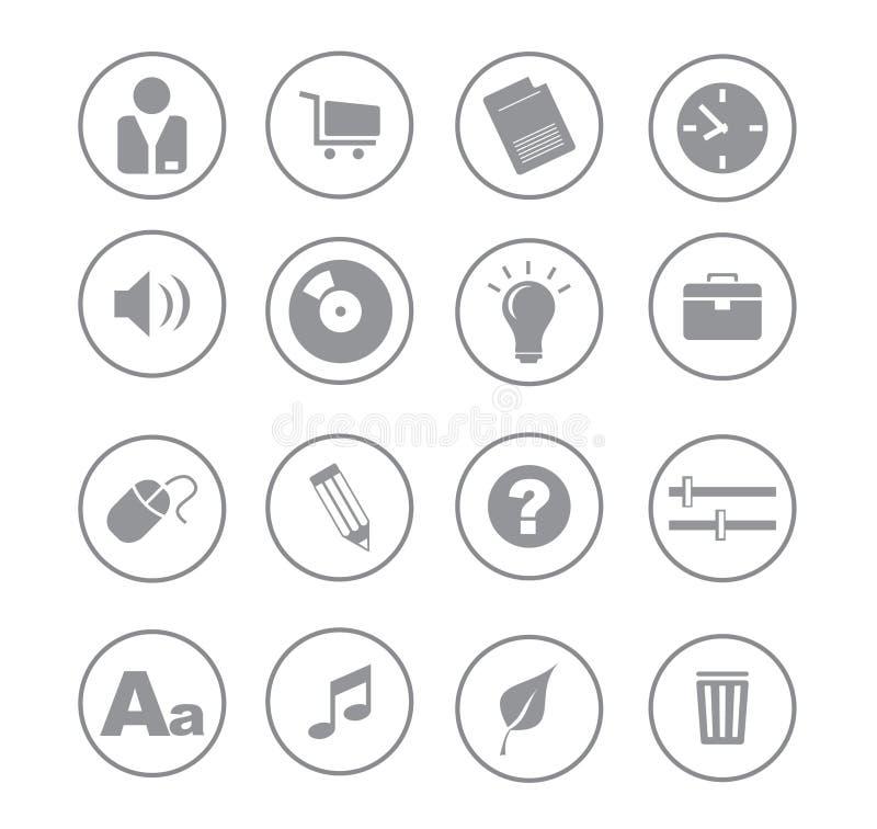 symboler för gray ball02 stock illustrationer