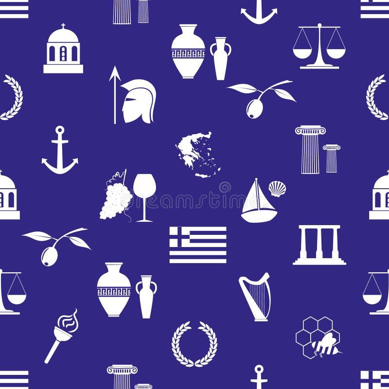 Symboler för Grekland landstema och sömlös modell eps10 för symboler vektor illustrationer
