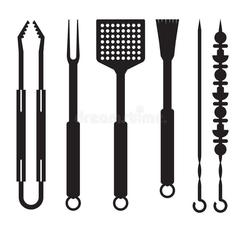 Symboler för grillfestredskapöversikt vektor illustrationer
