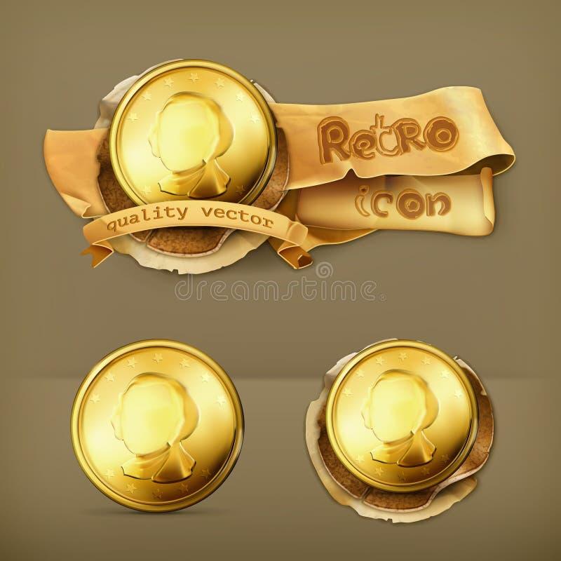 Symboler för guld- mynt vektor illustrationer