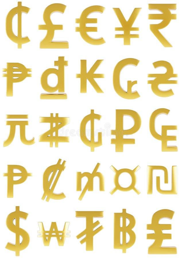Symboler för guld- valuta royaltyfri illustrationer