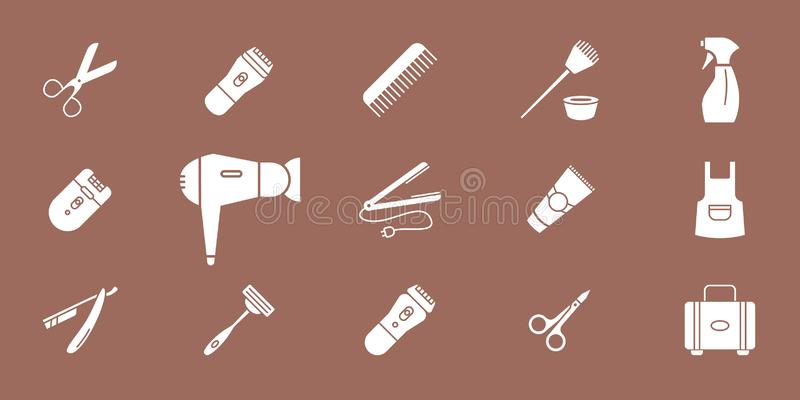 Symboler 02 för hårsalong royaltyfri illustrationer