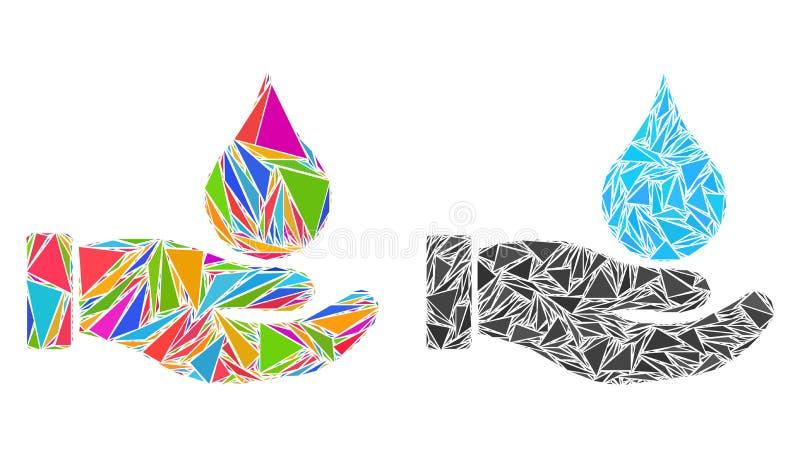 Symboler för hand för triangelvattenerbjudande mosaiska stock illustrationer