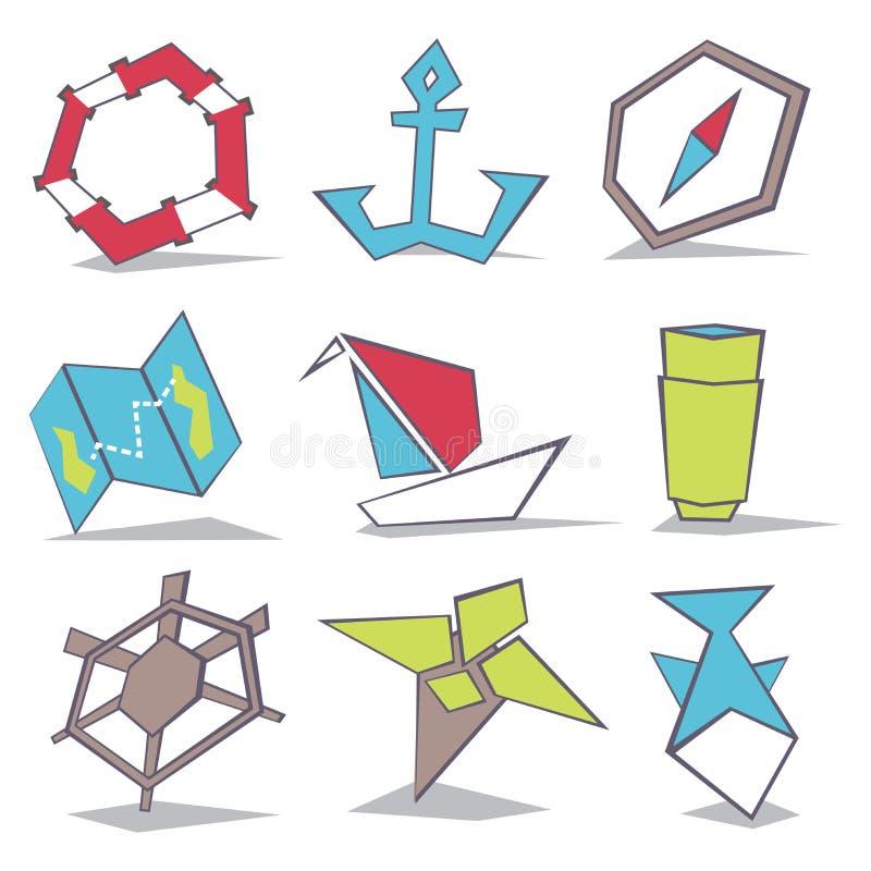 Symboler för havslopp royaltyfri illustrationer