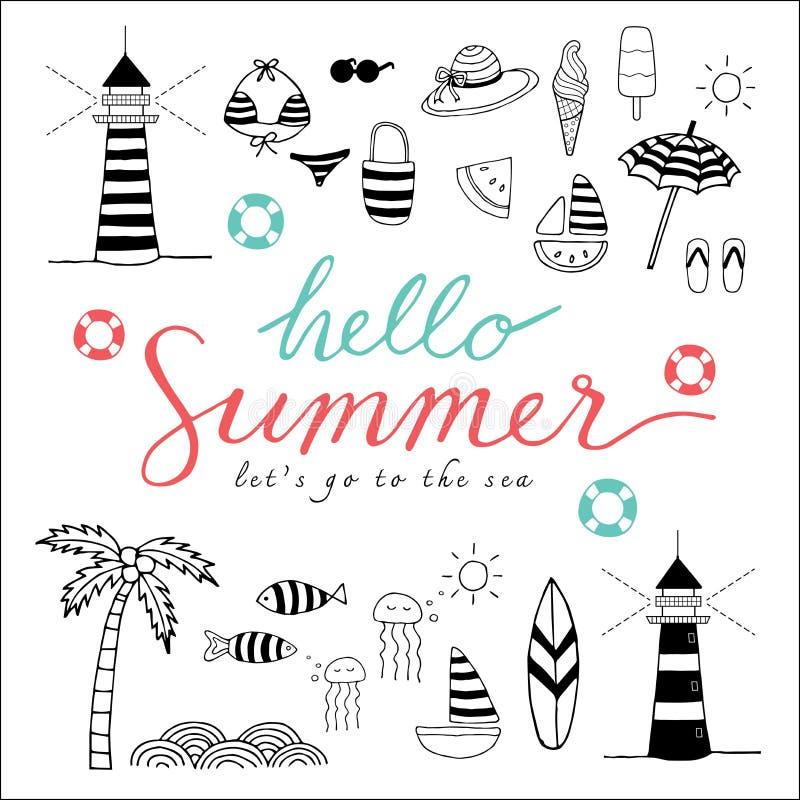 Symboler för Hello sommarsvart vektor illustrationer