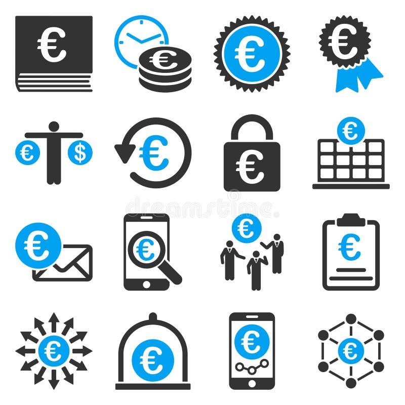 Symboler för hjälpmedel för för eurobankrörelseaffär och service stock illustrationer