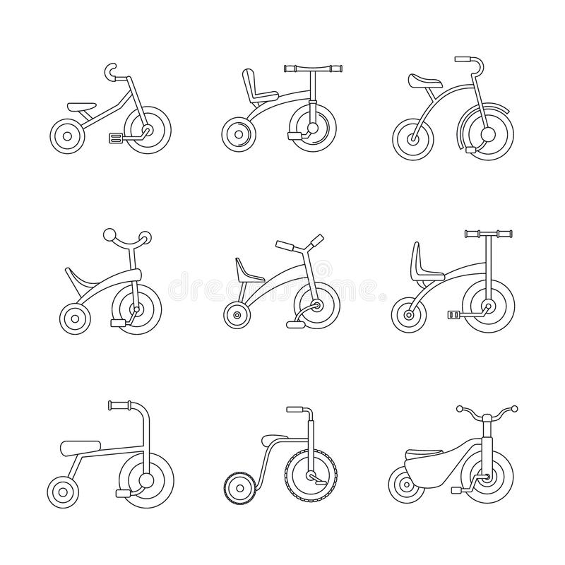 Symboler för hjul för trehjulingcykelcykel ställer in, skisserar stil vektor illustrationer