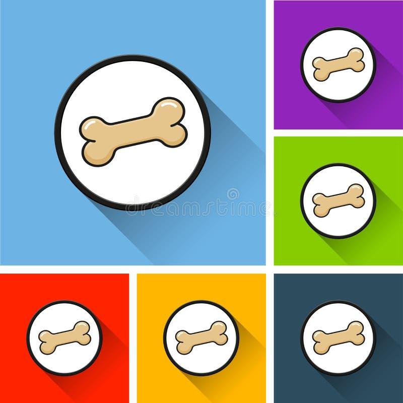 Symboler för hundben med lång skugga stock illustrationer