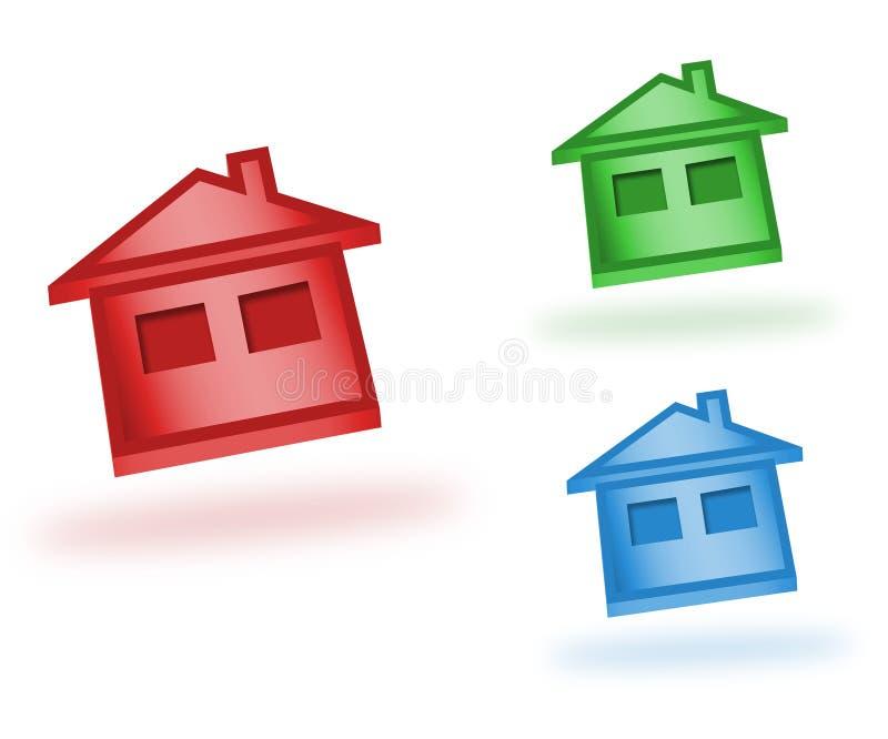 symboler för hus 3d vektor illustrationer