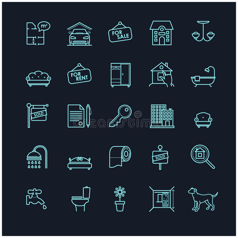 Symboler för hus- och fastighetmaterielvektor vektor illustrationer