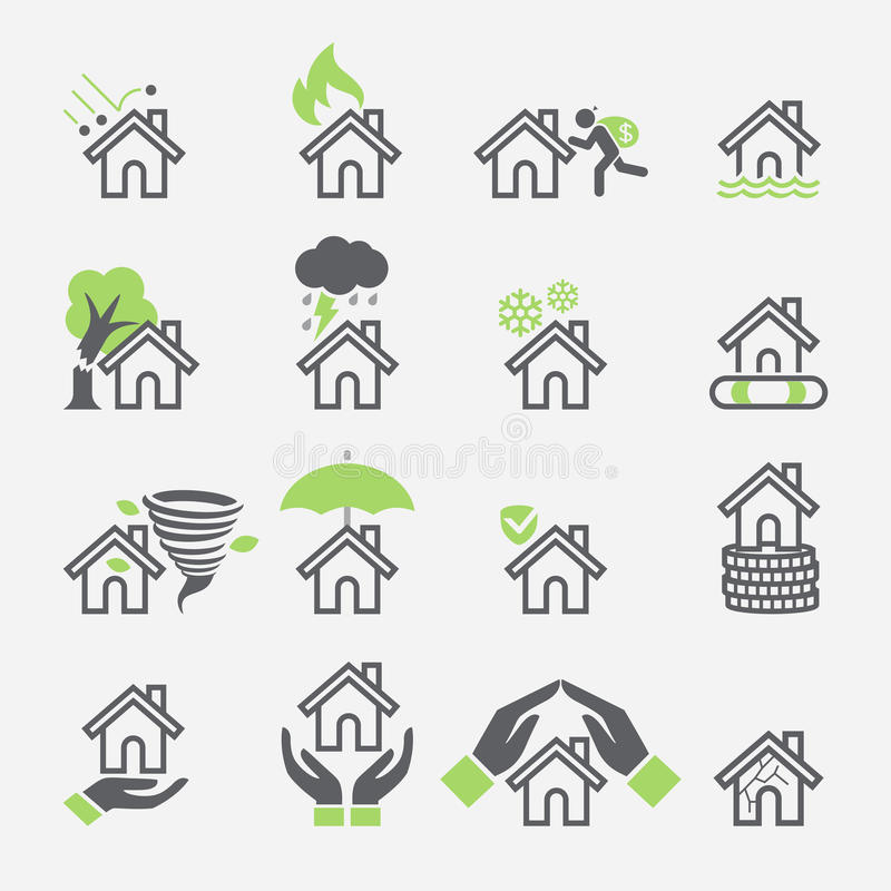 Symboler för husförsäkringservice vektor illustrationer