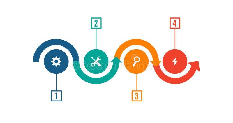 Symboler för för Infographic designmall och marknadsföring Mall för diagram, graf, presentation och runt diagram Affärsidé med stock illustrationer