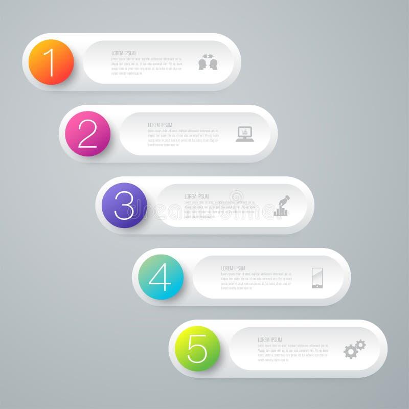 Symboler för för Infographics designvektor och affär med 5 alternativ royaltyfri illustrationer