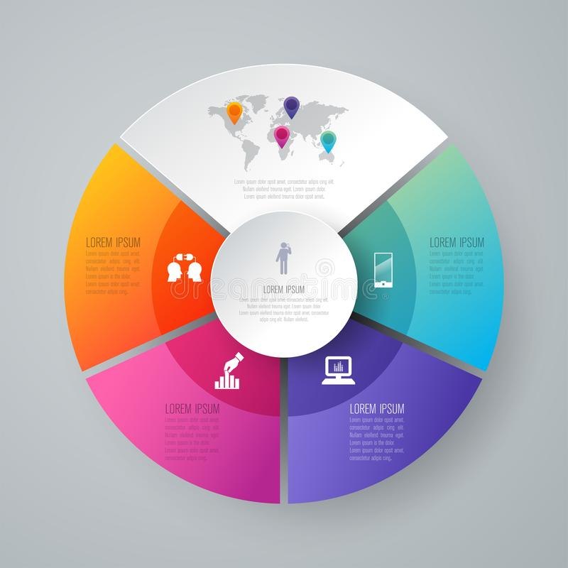 Symboler för för Infographics designvektor och affär med 4 alternativ vektor illustrationer