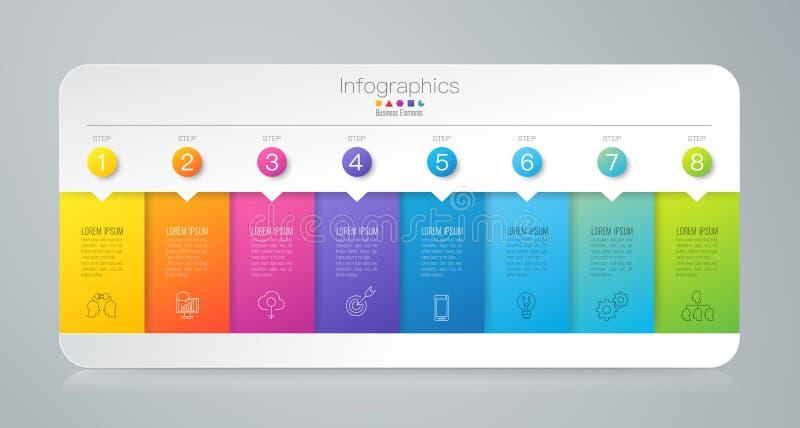 Symboler för för Infographics designvektor och affär med 8 alternativ vektor illustrationer